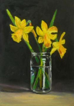 Picturi cu flori trei narcise in borcan