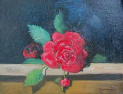 Picturi cu flori un trandafir pe polita