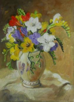 Picturi cu flori vas cu frezii