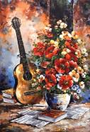 Picturi cu flori Chitara si flori