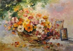 Picturi cu flori Cos cu flori