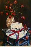 Picturi cu flori Palarie cu rosu