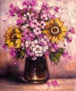 Picturi cu flori Buchet de vara in vas de sticla