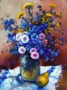 Picturi cu flori Natura statica cu albastrele
