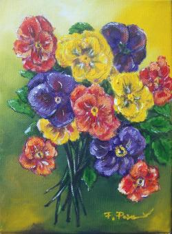 Picturi cu flori buchet colorat