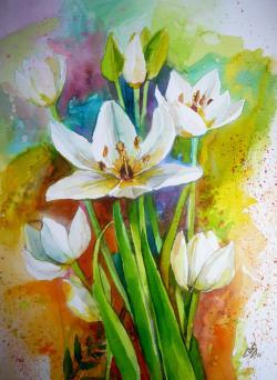Picturi cu flori White Flowers 4