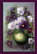 Picturi cu flori Panselute in vaz verde