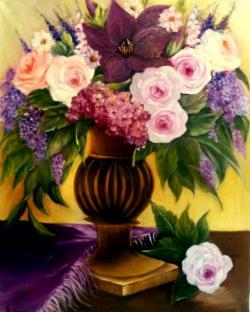 Picturi cu flori trandafiri de martie