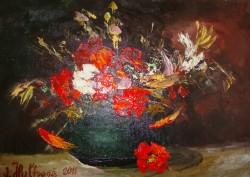 Picturi cu flori Vas cu flori rosii