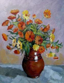 Picturi cu flori Galben Portocaliu
