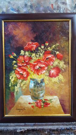 Picturi cu flori maci in vaza 1