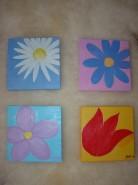 Picturi cu flori Set 4 tablouri lalea, margareta, floare de munte si floare salbatica