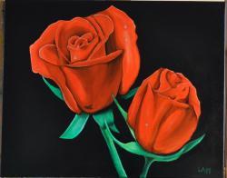 Picturi cu flori Trandafiri in intuneric