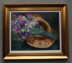 Picturi cu flori flori de camp si palarie