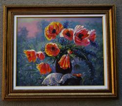 Picturi cu flori flori de mac in peisaj 01
