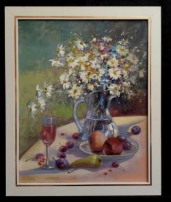 Picturi cu flori Natura statica cu fructe si flori de camp