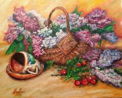 Picturi cu flori Cos cu liliac (L.D.)