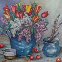 Picturi cu flori Liliac si lalale (L.D.)
