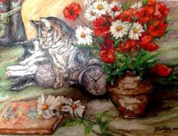 Picturi cu flori Meditatie felina