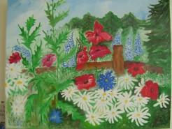 Picturi cu flori Gradina mea cu flori
