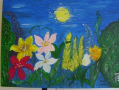 Picturi cu flori In tacerea noptii