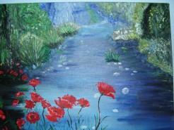Picturi cu flori Maci pe malul lacului