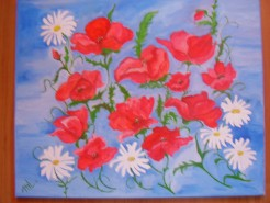 Picturi cu flori Pierdute in albastru