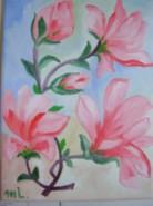 Picturi cu flori Primavara cu magnolii