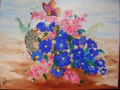 Picturi cu flori Primavara in albastru