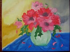 Picturi cu flori Vara in rosu