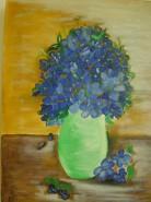 Picturi cu flori Vaza cu albastrele