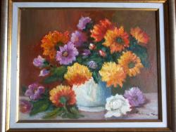 Picturi cu flori Flori de toamna in oala