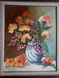 Picturi cu flori Flori in vaza albastra