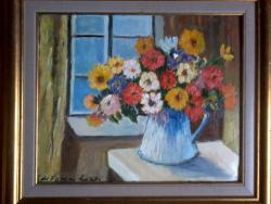 Picturi cu flori Flori la fereastra