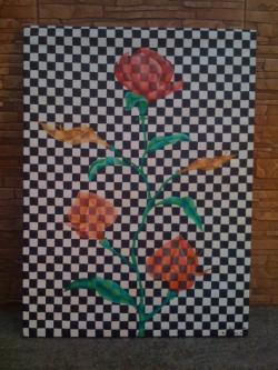 Picturi cu flori Flori in carouri