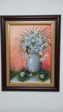 Picturi cu flori Lalele si liliac in portelan chinezesc