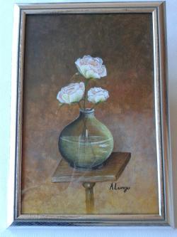 Picturi cu flori Roze in vas de sticla