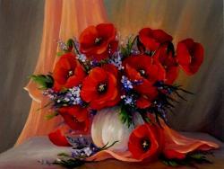 Picturi cu flori Buchet cu maci 03