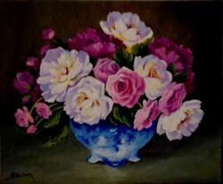 Picturi cu flori Bujori si trandafiri 01