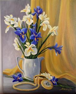 Picturi cu flori Irisi albastri si albi