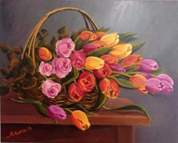 Picturi cu flori Lalele si trandafiri 7