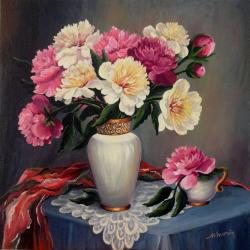 Picturi cu flori Primii bujori 01