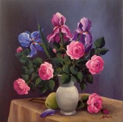 Picturi cu flori Trandafiri si irisi