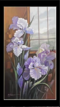 Picturi cu flori flori -irisi movi