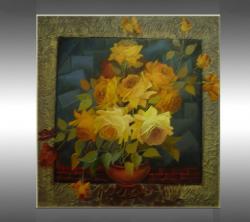 Picturi cu flori  trandafiri in vaza--k017