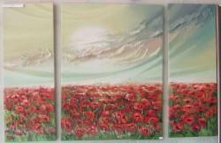 Picturi cu flori Lan de maci  triptik-------39