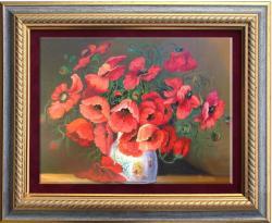 Picturi cu flori maci din roua de primavara