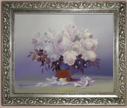 Picturi cu flori trandafiri albi  77y1