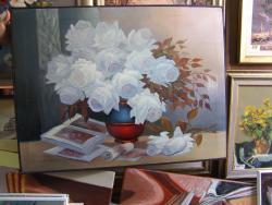 Picturi cu flori trandafiri albi   e031