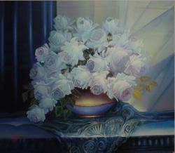 Picturi cu flori trandafiri albi  --u771